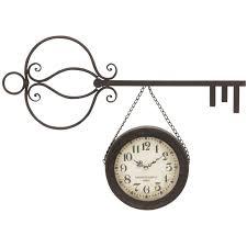 home decor tagged benzara 53318 key shaped metal wall clock 32