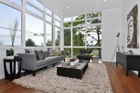 white microfiber sectional sofa modern living room rugs brown wooden laminate flooring beige silk