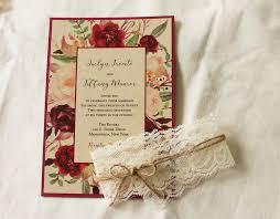 wedding invitations burgundy marsala wedding invitation set floral rustic wedding invitation