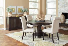 weber round dining room set w cream chairs coaster furniture