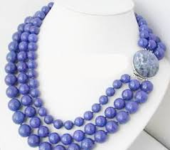 natural bead necklace images Blue natural round lapis lazuli bead necklace 3 rows of stones jpg