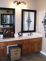 grey accent vanity bathroom mirror frame ideas glass three shelves