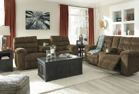 antwan truffle reclining sofa with drop down table from ashley