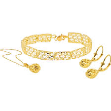 gold necklace bracelet earrings set images 10k yellow gold filigree earrings pendant and bracelet set gold jpg