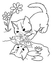 little cat coloring page for kids animal coloring pages