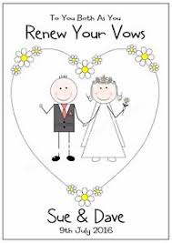 wedding vow cards renew wedding vows personalised card congratulations any names