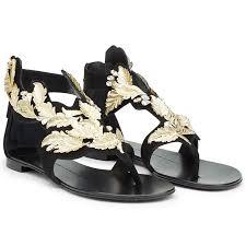 exclusive black gold sandals giuseppe zanotti chain wedge giuseppe