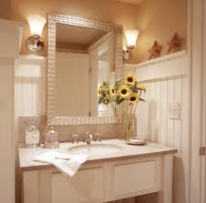 half wall beadboard bathroom beach style with white painted wood