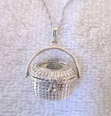 vintage sterling silver nantucket basket pendant necklace shell