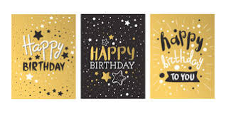 happy birthday gold text for greeting card invitation stock