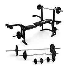 klarfit hb3bc weight bench with weight rack all in one fitness