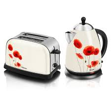 Toaster And Kettle Set Red Swan 1 7 Litre Poppy Design Cordless Electric Jug Kettle And 2