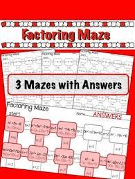 factoring quadratics maze 3 worksheets by lisa tarman tpt