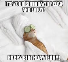 Cat Happy Birthday Meme - it s your birthday relax and enjoy happy birthday jenny