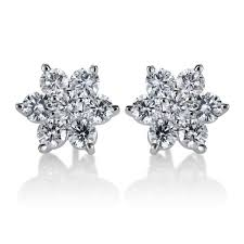 flower stud earrings summerrose 14k white gold 2ct tdw diamond flower stud earrings