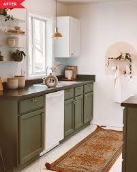 green base cabinets in kitchen kitchen redo with paint and hardware apartment therapy