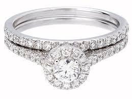 14k gold wedding ring sets brilliant cut halo wedding ring set in 14k white