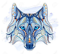 patterned head of the wolf on the grunge background african