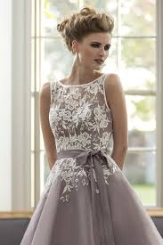 purple dresses for weddings knee length knee length tulle dusty purple bridesmaid dress with white lace v