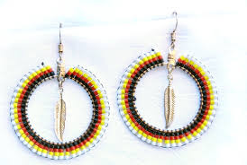 hoop beaded earrings floating feather american beaded hoop earrings earrings