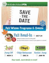 save the dates for fall winter fundraisers mckinley school pta
