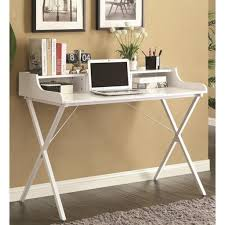 white polished metal movable computer desk with wheels and black