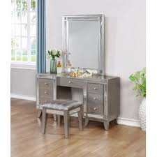 Bobkona St Croix Collection Vanity Set With Stool White Makeup Tables And Vanities You U0027ll Love Wayfair
