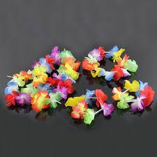 4pcs hawaiian flower necklace headband anklet fancy dress
