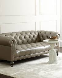 Old Hickory Tannery Morgan Gray Chesterfield Leather Sofa - Hickory leather sofa