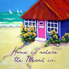 Cottage By The Beach by Tiny Cottage By The Sea Beach Quote Painting By Rebecca Korpita
