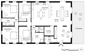 plan maison contemporaine plain pied 4 chambres décoration plan maison 4 chambres plain pied 160 m2 92 le across