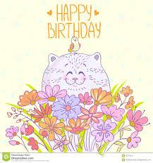 cat happy birthday stock vector image of flower cute 45791817