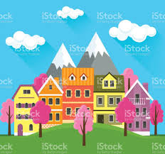Small Cute Houses by Flat Spring Cityscape Urban Landscape City With Small Cute Houses