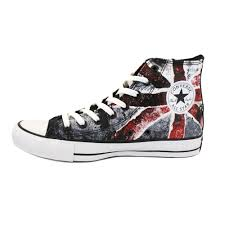 British Flag Boots Converse Chuck Taylor Union Jack Mens Trainers In Black Red