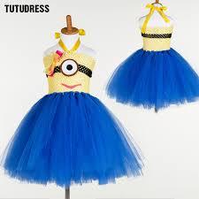 Minion Halloween Costume Girls Cute Tulle Party Dress Cartoon Princess Minion Cosplay Tutu