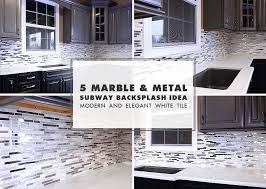 Modern White Marble Glass Metal Kitchen Backsplash Tile - Glass and metal tile backsplash