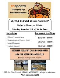 thanksgiving basketball tournament insports centers in trumbull