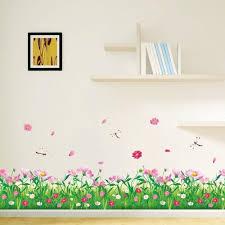 popular pink and green flower wall stickers buy cheap pink and beautiful pink flower green grass with butterflies wall decals murals home art decor peel stick wall