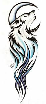 moon and tribal wolf design within stylish tribal wolf