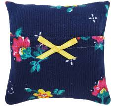 blue and yellow ribbon tooth fairy pillow navy blue floral print fabric yellow ribbon