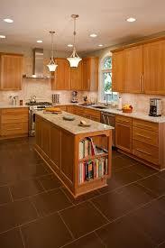 New River Cabinets Tile Floor Medium Brown Cabinets Tile Backsplash Granite