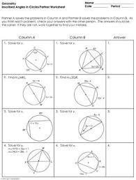 inscribed angles in circles partner worksheet by mrs e teaches math