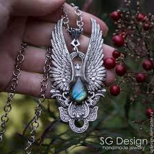 handmade angel necklace images Silver plated pendant quot angel quot labradorite necklace wings shop jpg