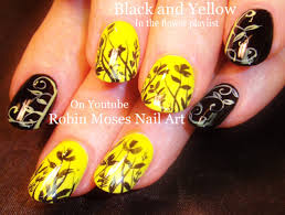 black and yellow filigree nail art design with tutorial video