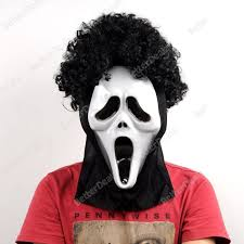 happy halloween scream ghost face mask curly hair share you