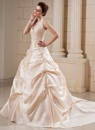 ball gown halter cathedral train satin wedding dress with