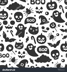 free halloween tiled background vector cute seamless halloween pattern smiling stock vector