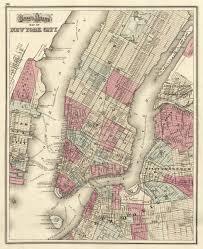 New York City New York Map by Vintage Map New York City New York 1873