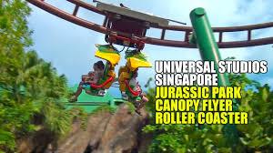 jurassic park canopy flyer family roller coaster pov universal