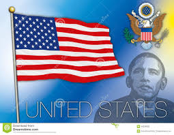 Use Flag United States Of America Flag Barack Obama Portrait Stock